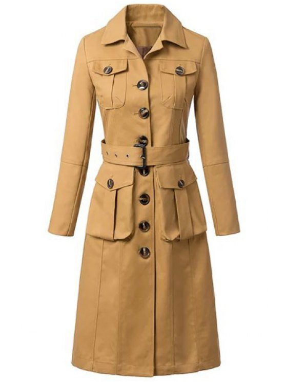 trendy Single-Breasted Solid Color Long Sleeve Trench Coat - KHAKI S