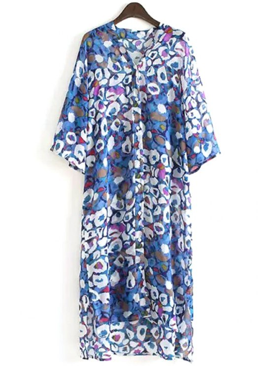 latest Half Sleeve Printed Chiffon Dress - AS THE PICTURE ONE SIZE(FIT SIZE XS TO M)