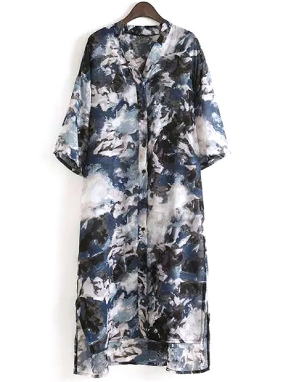 trendy Stand Neck Half Sleeve Shirt Dress - AS THE PICTURE ONE SIZE(FIT SIZE XS TO M)