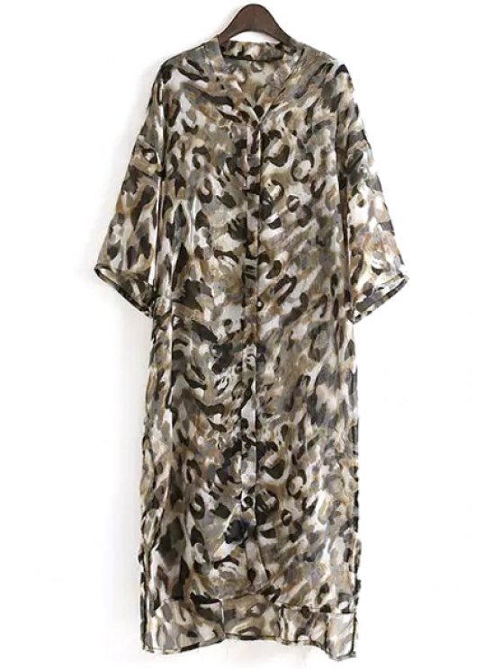 hot Half Sleeve Green Print Midi Dress - GREEN ONE SIZE(FIT SIZE XS TO M)