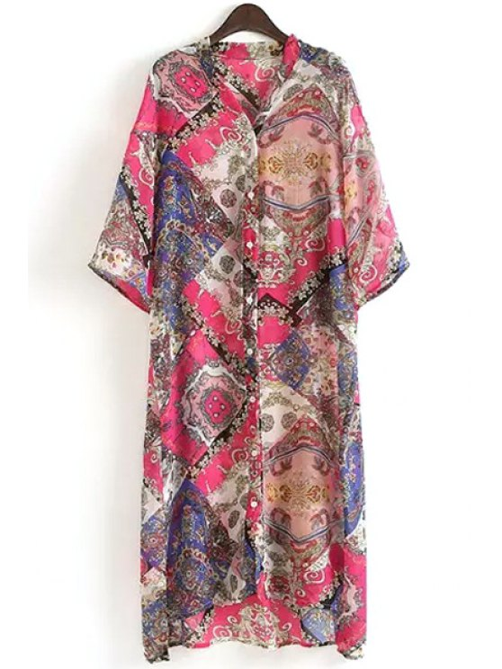 outfit Stylish Stand Neck Half Sleeve Single-Breasted Floral Print Women's Dress - COLORMIX ONE SIZE(FIT SIZE XS TO M)