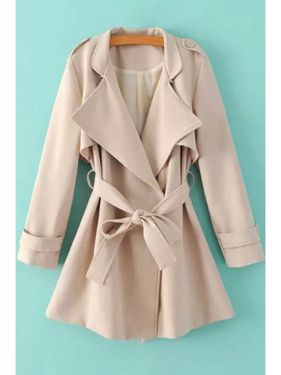 sale Turn-Down Collar Belt Pure Color Trench Coat - KHAKI M