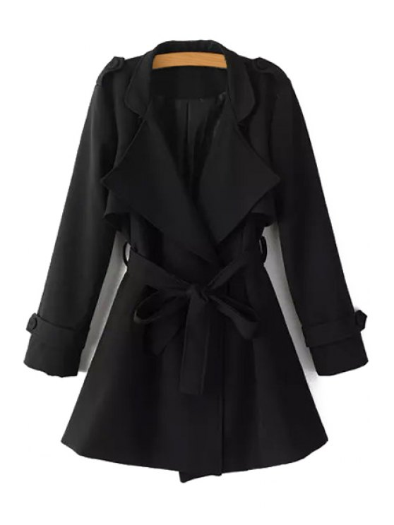 ladies Turn-Down Collar Belt Pure Color Trench Coat - BLACK M