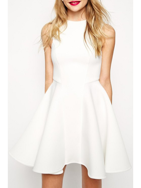 chic Sleeveless Fit and Flare Dress - WHITE M