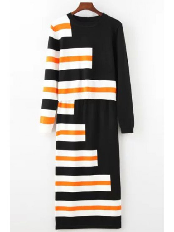 trendy Color Block Stripes Long Sleeve Sweater + Skirt - BLACK ONE SIZE(FIT SIZE XS TO M)
