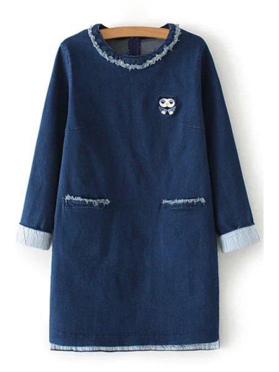 trendy Owl Embroidery Pocket Long Sleeve Dress - BLUE S