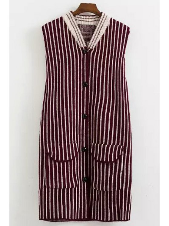 fancy Color Block Stripe Single-Breasted Sleeveless Waistcoat - RED ONE SIZE(FIT SIZE XS TO M)