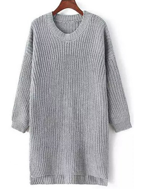 chic Side Split Solid Color Long Sleeve Sweater - GRAY ONE SIZE(FIT SIZE XS TO M)