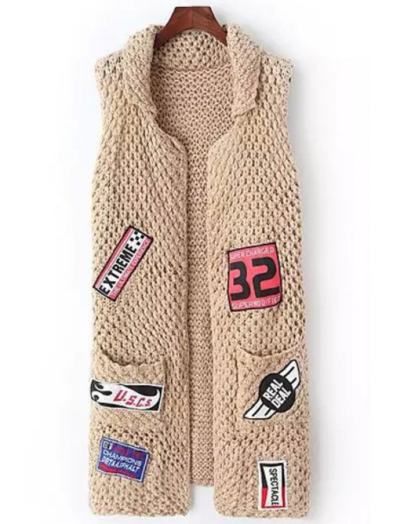 fancy Applique Embellished Sleeveless Cardigan - KHAKI ONE SIZE(FIT SIZE XS TO M)