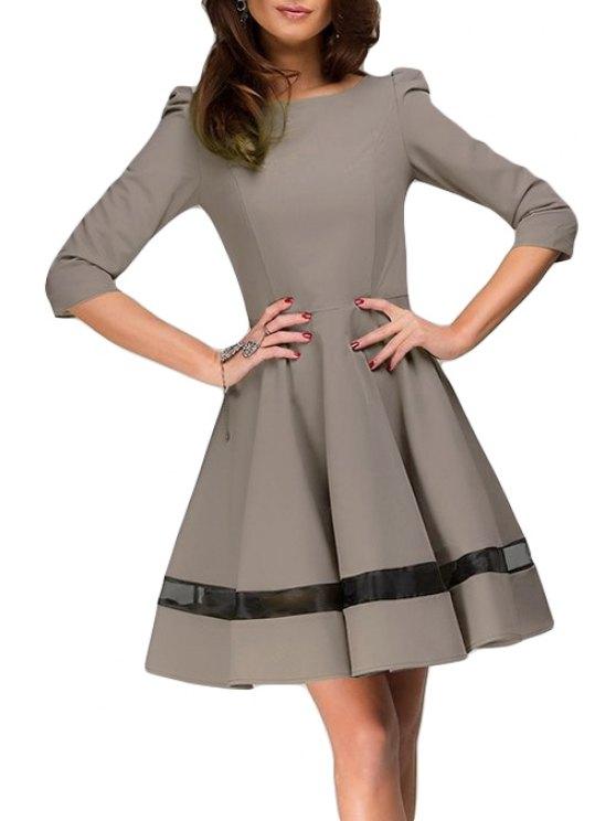 shops Voile Spliced 3/4 Sleeve Flare Dress - DARK KHAKI M