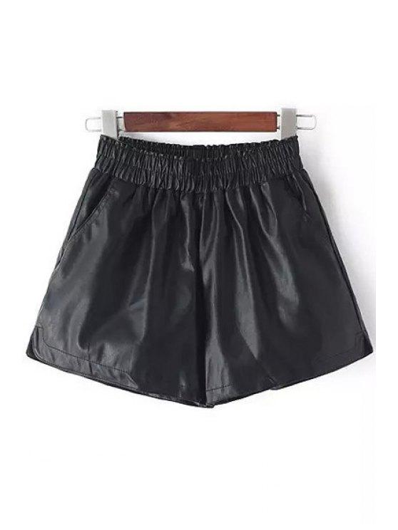 best Faux Leather Solid Color Shorts - BLACK S