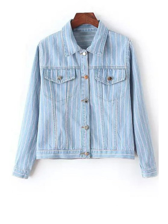 shops Polo Collar Bleach Wash Stripe Long Sleeve Coat - BLUE M