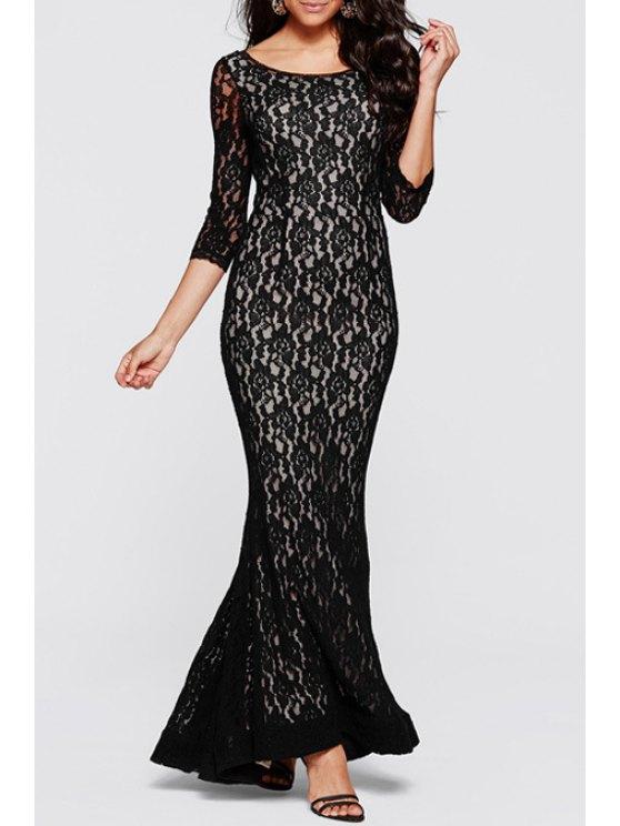 trendy Openwork Lack Hook Fishtail Dress - WHITE AND BLACK S