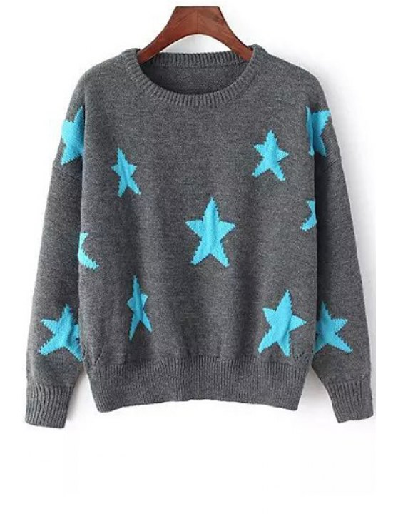 lady Blue Star Pattern Long Sleeve Sweater - GRAY ONE SIZE(FIT SIZE XS TO M)