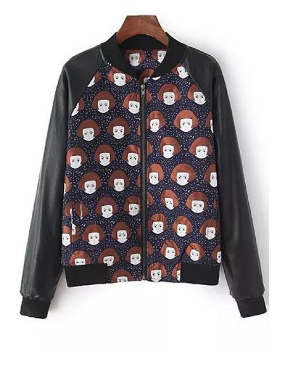 buy Stand-Up Collar Cartoon Girl Print Coat - BLACK ONE SIZE(FIT SIZE XS TO M)