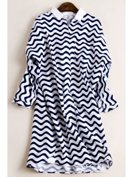 fashion Stripes Flat Collar Bat-Wing Sleeve Shirt Dress - BLUE AND WHITE ONE SIZE(FIT SIZE XS TO M)