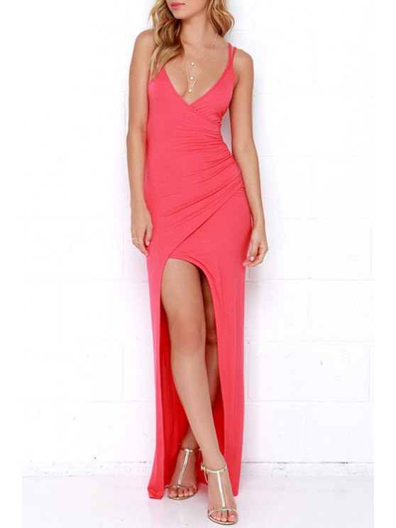 outfits Spaghetti Strap Ruched Asymmetric Dress - RED S