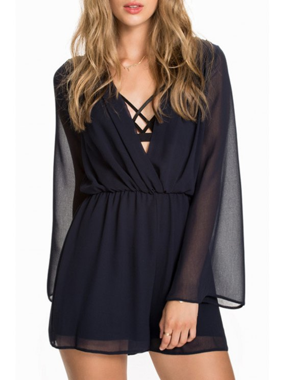 online Deep V Neck See-Through Chiffon Romper - BLACK S