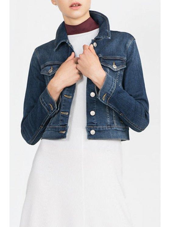 fancy Denim Turn Down Collar Long Sleeve Coat - DEEP BLUE S