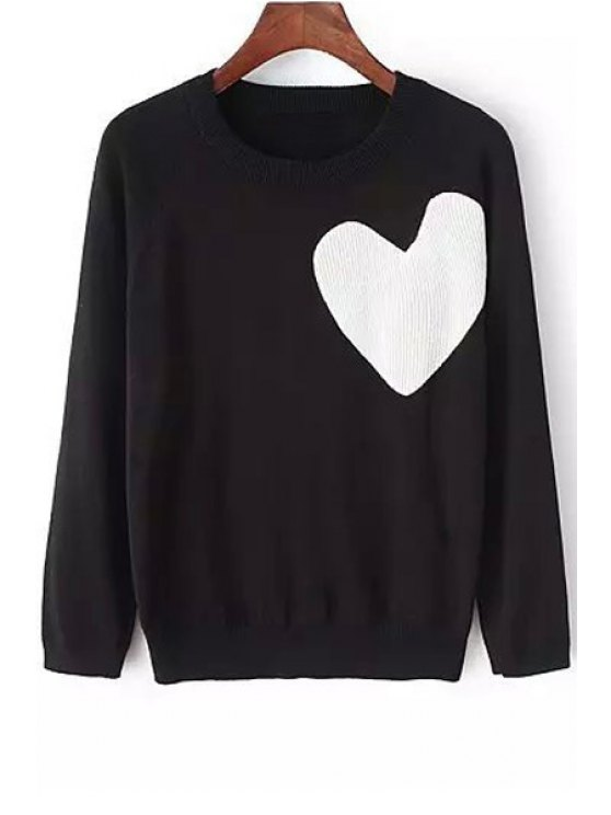 outfits White Heart Pattern Long Sleeve Sweater - BLACK S
