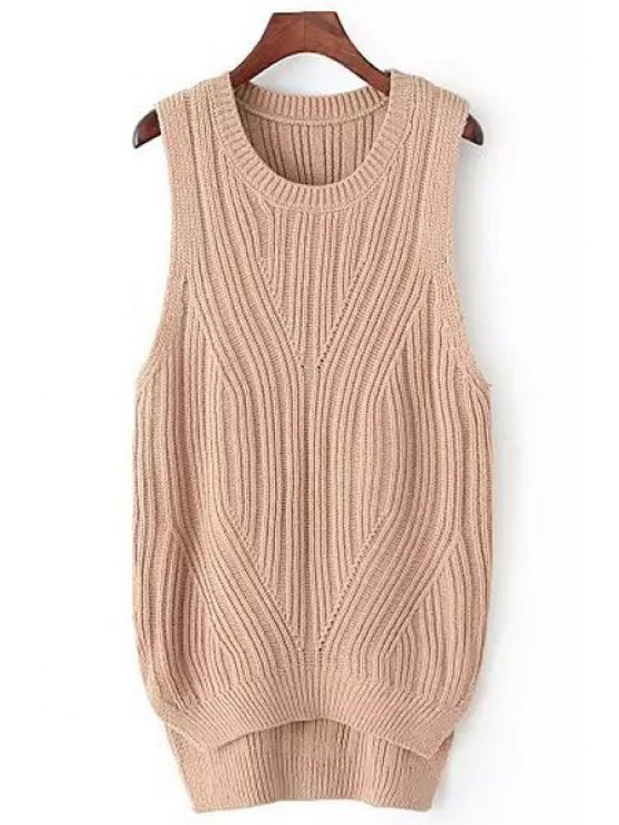 women's High Low Solid Color Sleeveless Sweater - KHAKI ONE SIZE(FIT SIZE XS TO M)