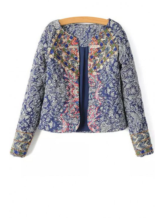 shops Ethnic Print Scoop Neck Long Sleeve Coat - DEEP BLUE S