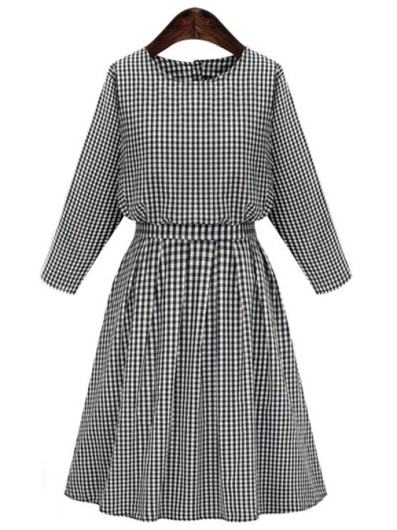 latest Long Sleeve Plaid Midi Dress - GRAY S