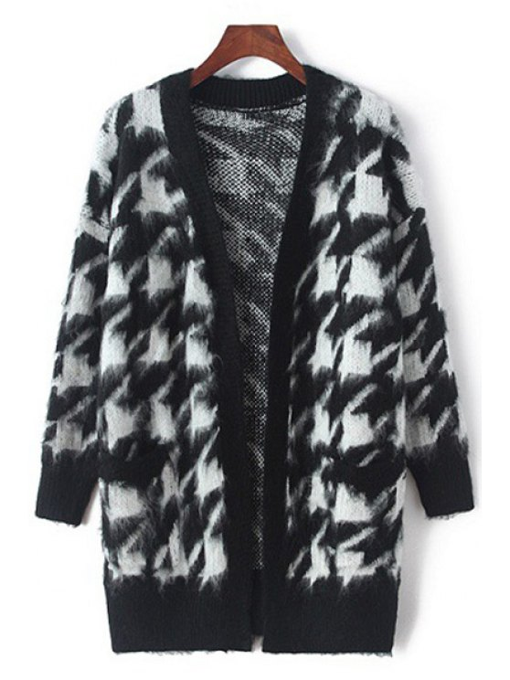 new Houndstooth Pattern Long Sleeve Cardigan - WHITE AND BLACK ONE SIZE(FIT SIZE XS TO M)