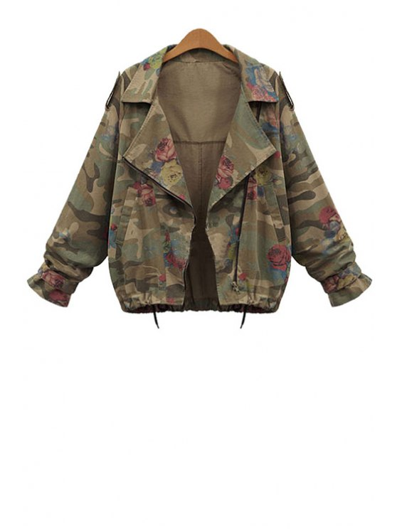 unique Lapel Loose-Fitting Camouflage Coat - GREEN L