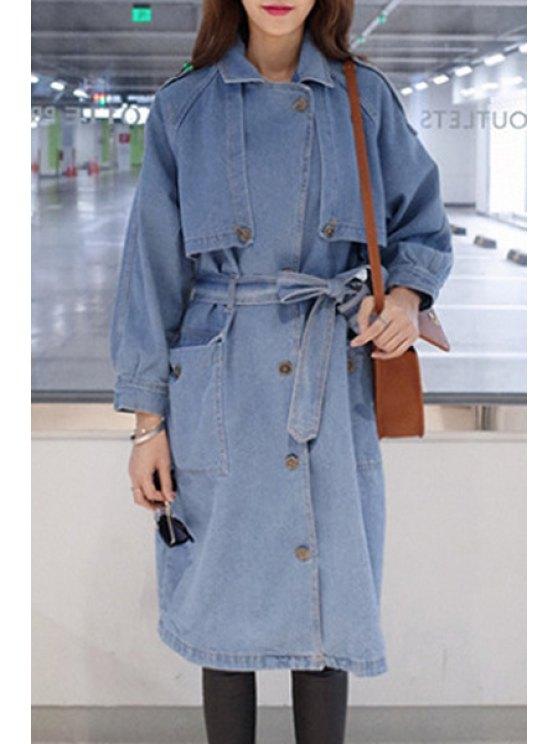 unique Light Blue Lapel Long Sleeve Coat - LIGHT BLUE S
