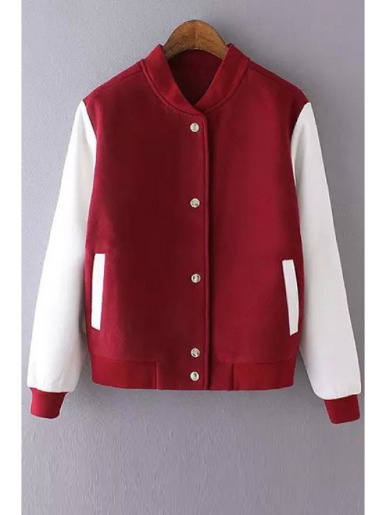 best Stand-Up Collar Red White Splicing Coat - RED WITH WHITE S