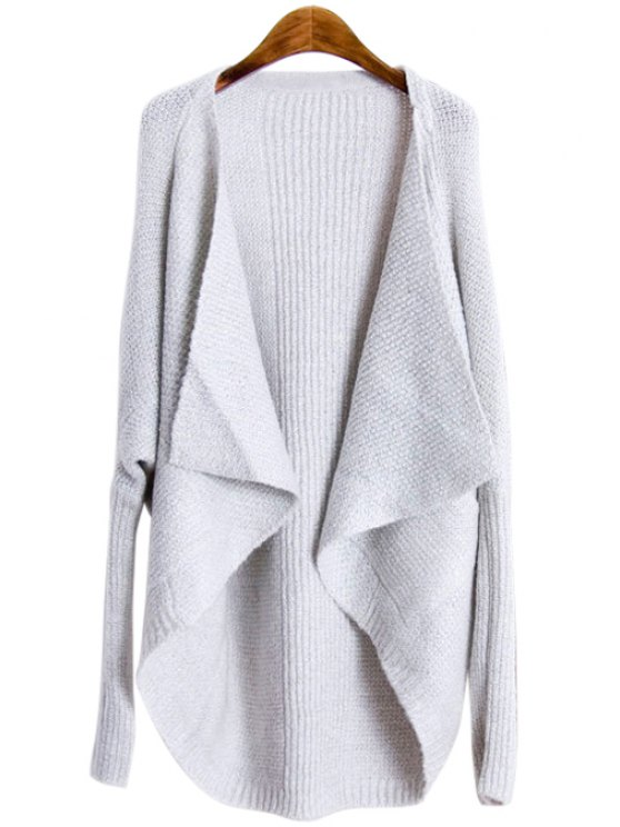 chic Loose-Fitting Long Sleeves Solid Color Cardigan - WHITE S