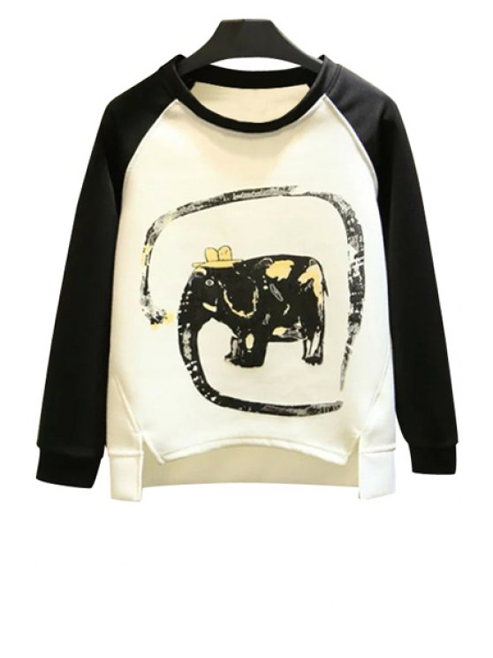 buy Elephant Print Long Sleeve Sweatshirt - WHITE AND BLACK S