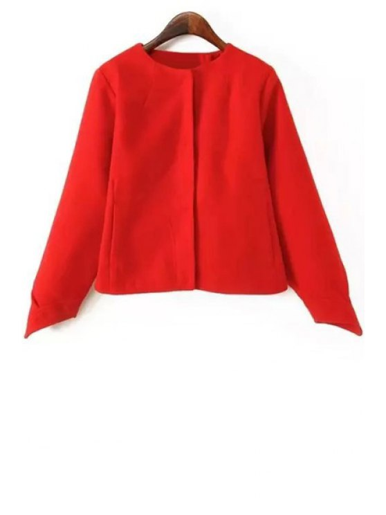 hot Jewel Neck Solid Color Long Sleeve Coat - RED S