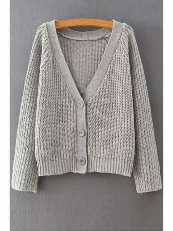 women's V-Neck Single-Breasted Cardigan - LIGHT GRAY ONE SIZE(FIT SIZE XS TO M)