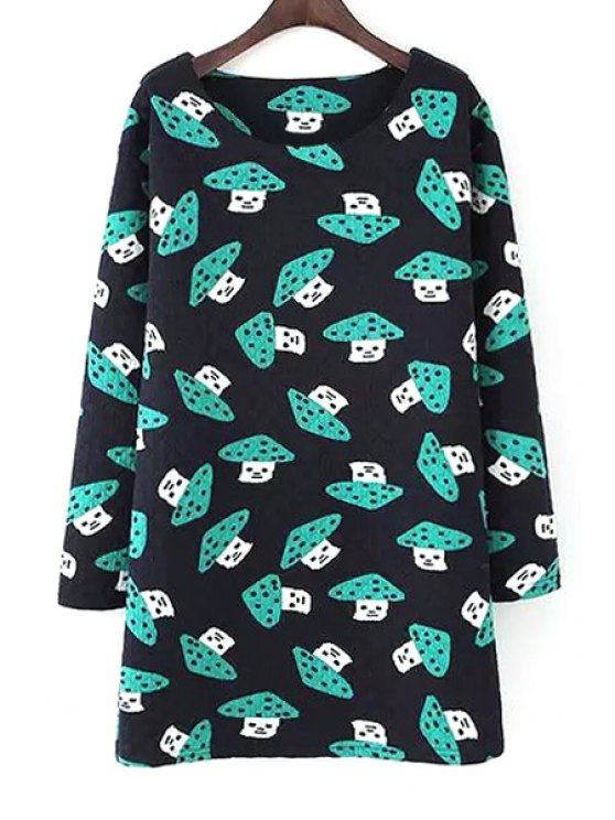 latest Full Mushrooms Print Long Sleeve Dress - BLACK L