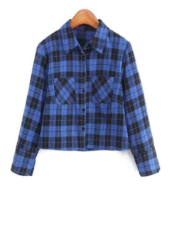 fashion Polo Color Blue Black Plaid Long Sleeve Shirt - BLUE AND BLACK S
