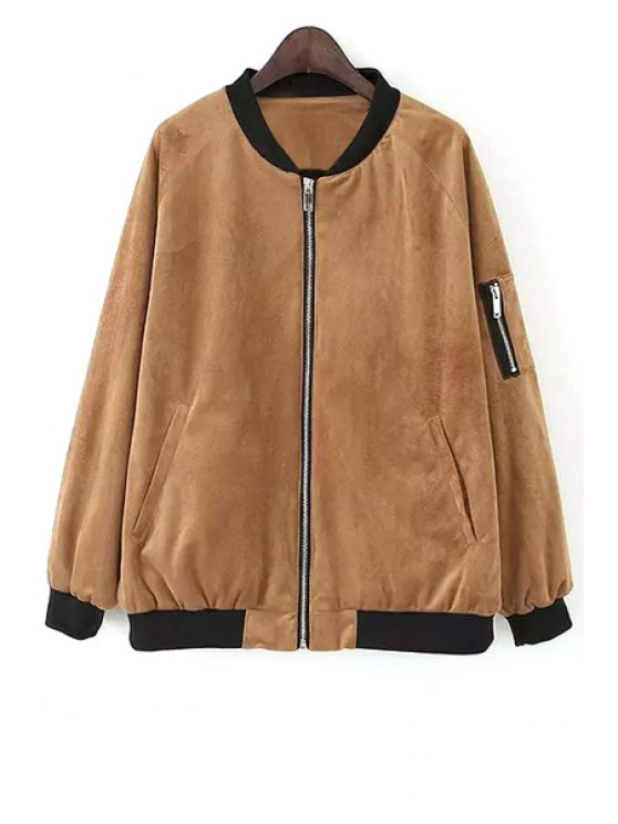 shop Color Block Zipper Stand Neck Jacket - KHAKI S