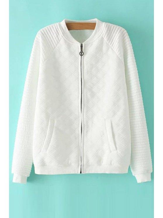 women Stand Neck Cotton Padded White Coat - WHITE S