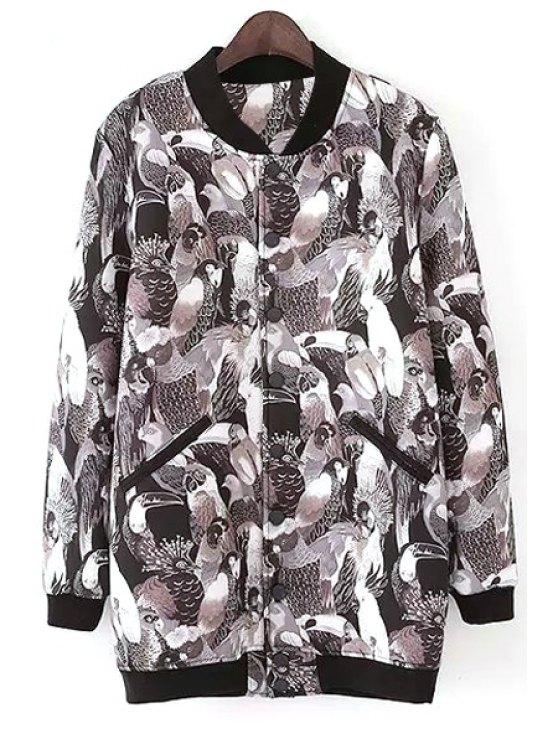 trendy Full Parrot Print Stand Neck Jacket - BLACK S
