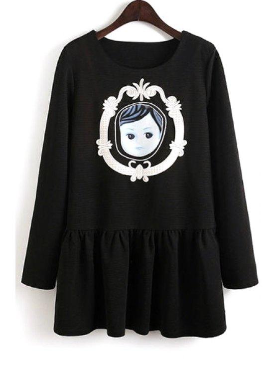 womens Baby Pattern Long Sleeve Dress - BLACK S