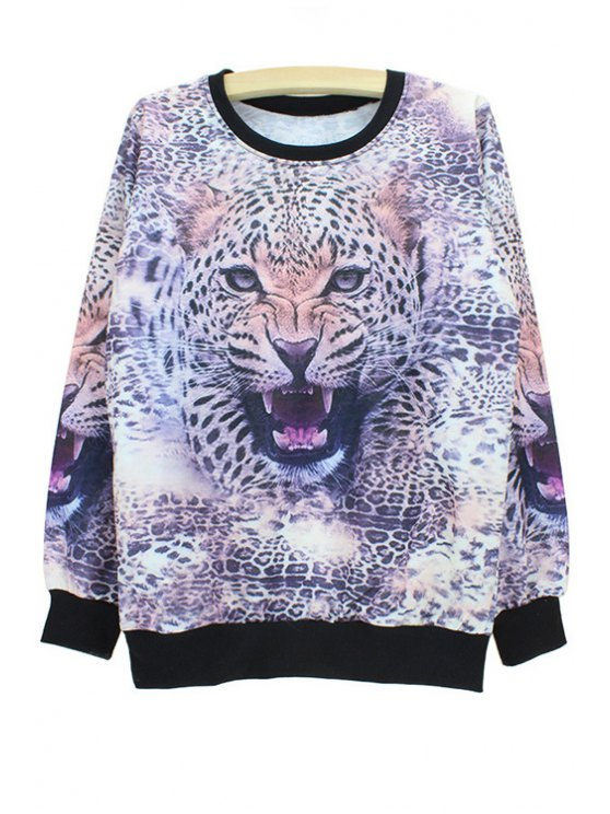 Tiger Head Print Sweatshirt - Colormix XL