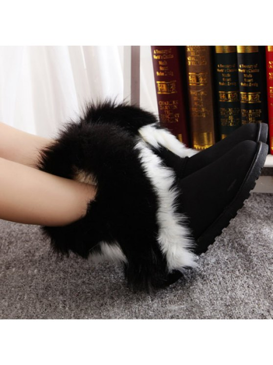 Color Block Faux Fur Snow Boots - BLACK 41 Mobile