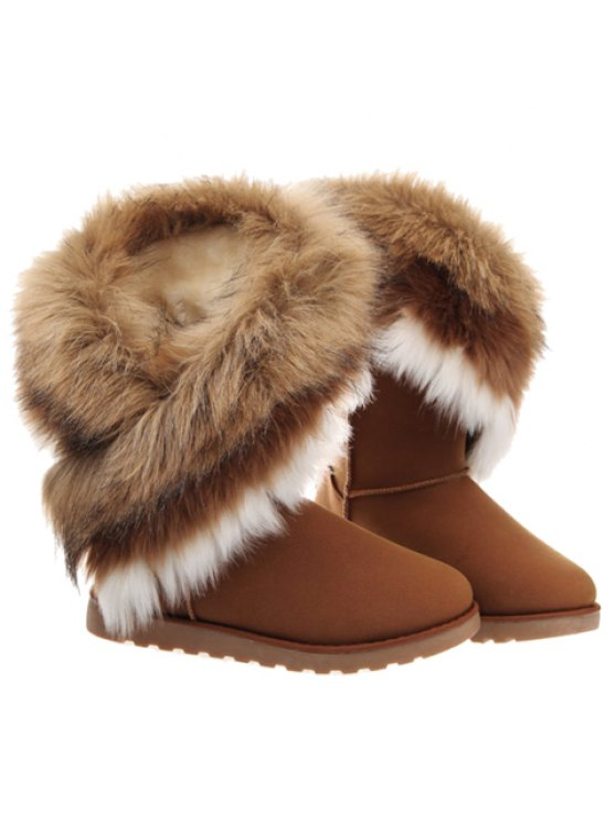 Color Block Faux Fur Snow Boots - BROWN 41 Mobile