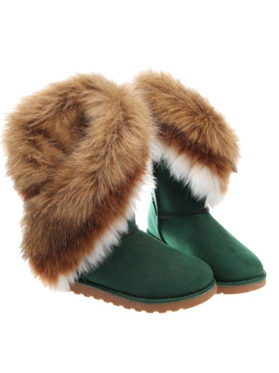 unique Color Block Faux Fur Snow Boots - GREEN 41
