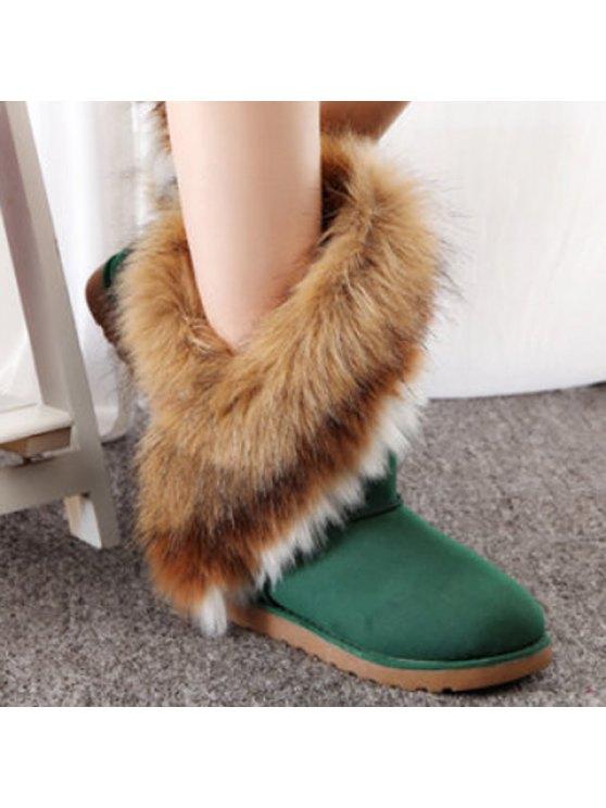 Color Block Faux Fur Snow Boots - GREEN 39 Mobile
