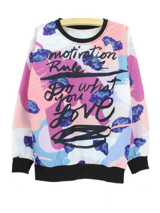 shops Stylish Round Neck Long Sleeve Graffiti Print Women's Sweatshirt - WHITE M