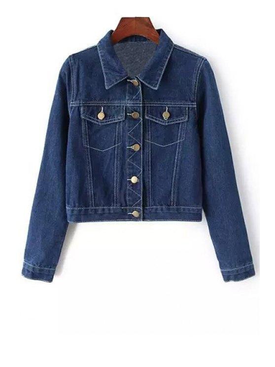 women's Deep Blue Turn Down Collar Long Sleeve Jacket - BLUE S