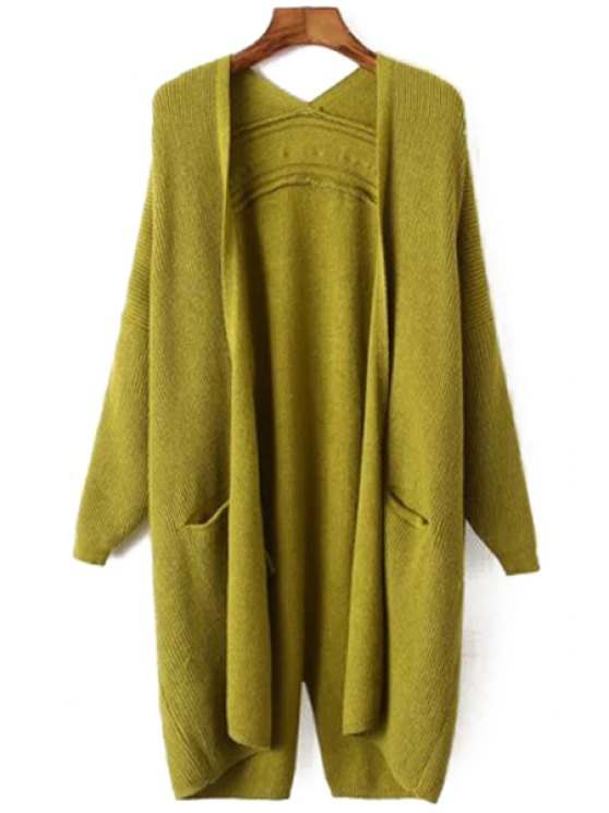 affordable Collarless Pocket Back Split Long Sleeve Cardigan - GREEN ONE SIZE(FIT SIZE XS TO M)