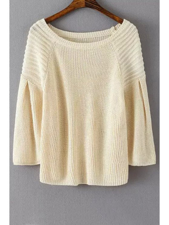lady Lantern Sleeve Loose-Fitting Sweater - OFF-WHITE ONE SIZE(FIT SIZE XS TO M)